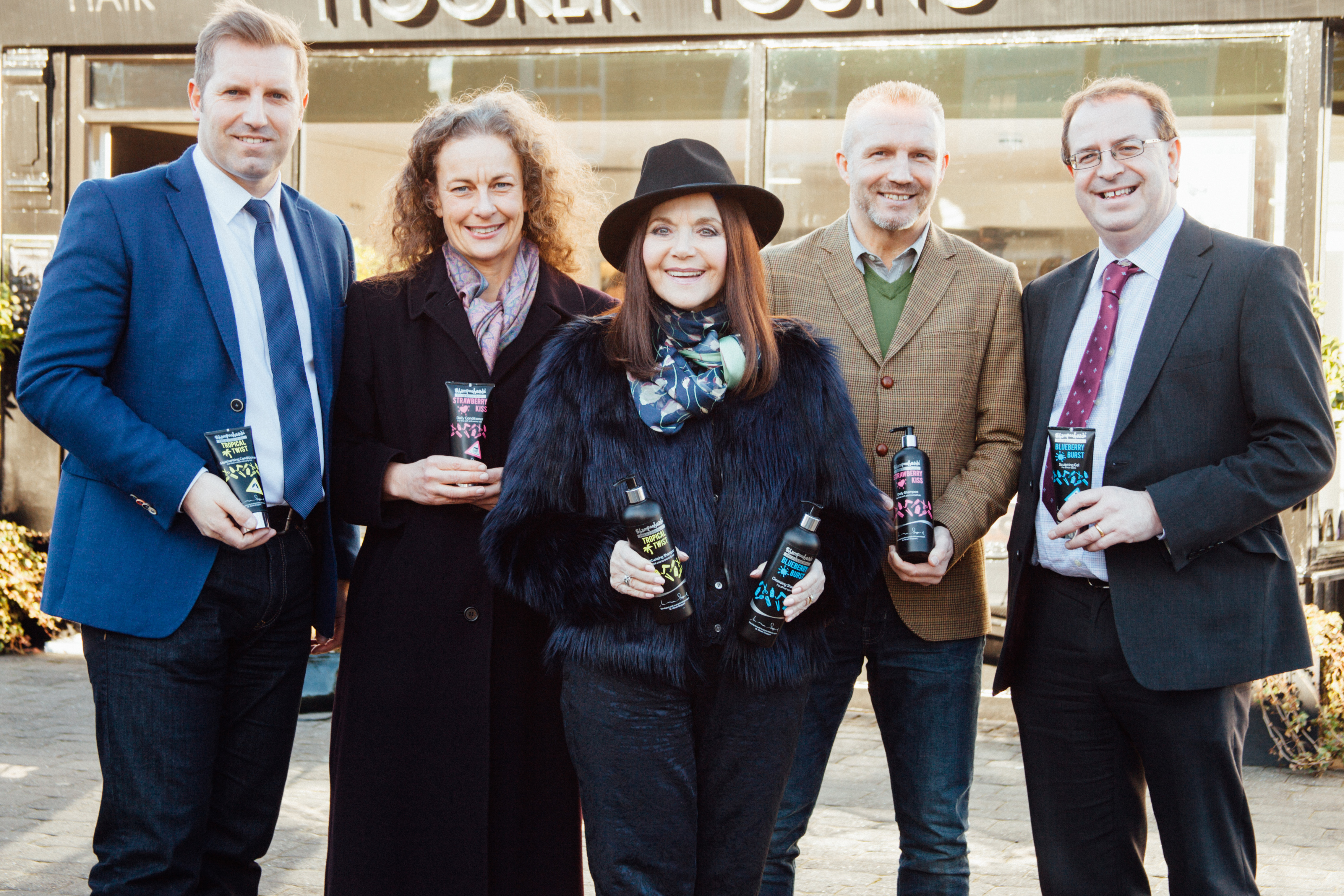(from left) Geoff Bell of Shampooheads, Jane Siddle of NEL, Dr Miriam Stoppard, Andy Mercer of Shampooheads and Geoff Little of Bell Anderson Chartered Accountants.