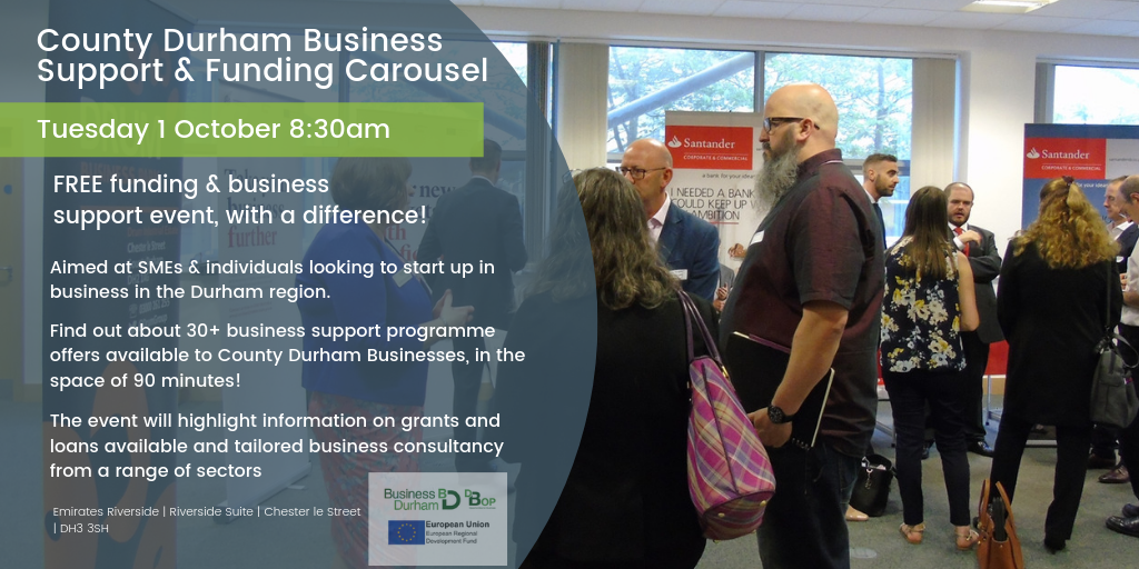 County Durham Business Support and Funding Carousel - October - Emarites Riverside