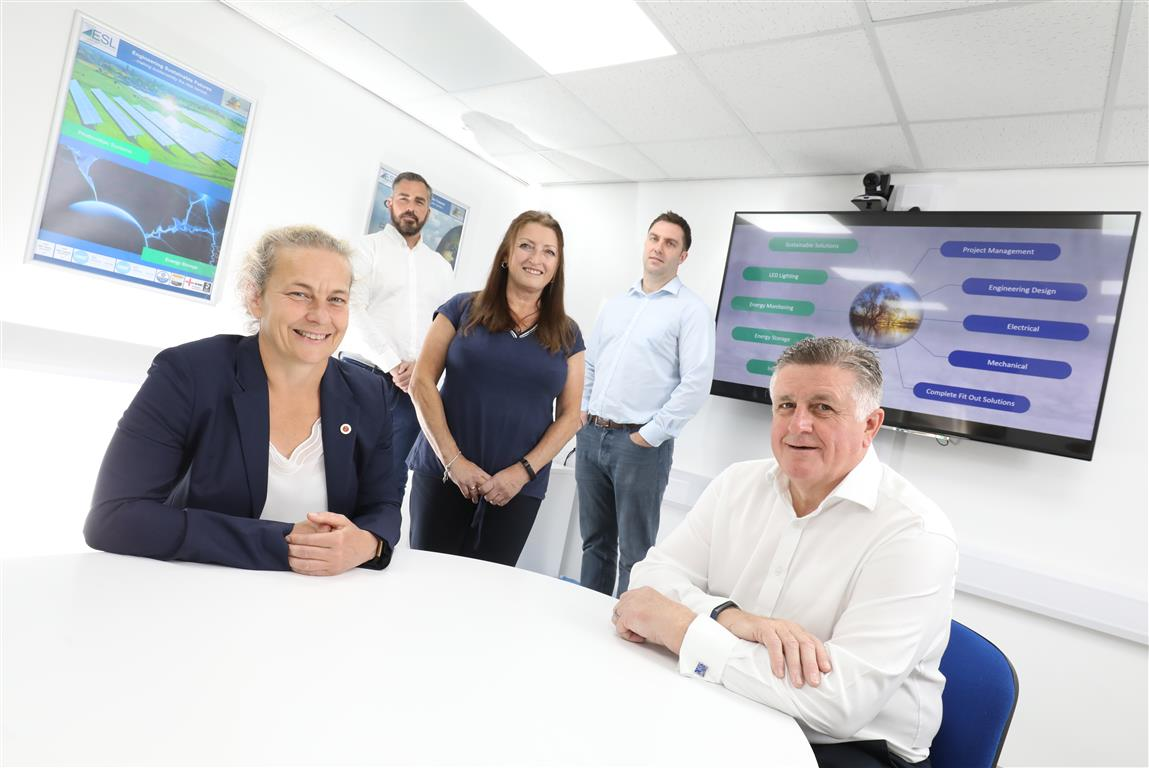(front) Jane Siddle of NEL Fund Managers and David Hutchinson of Electek Solutions with (back, from left) Michael Oliver and Denise Gilligan of Electek Solutions and Barry Gill of TIG Corporate Finance